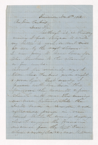 Augusta Maria Denny Tyler letter to Justin Perkins, 1862 November 16