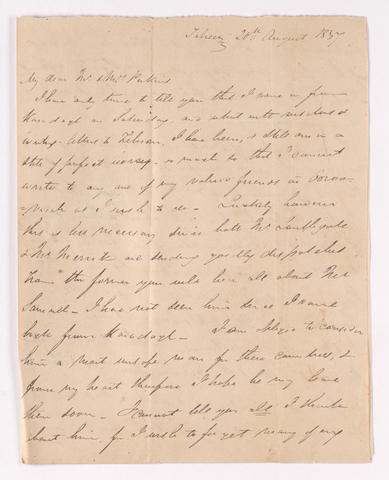 James Pringle Riach letter to Justin and Charlotte Bass Perkins, 1837 August 20