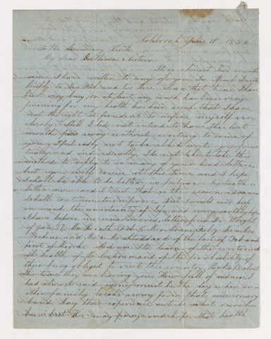 Jerusha Emily Gilbert Stocking letter to the members of the Nestorian Mission, 1856 June 10