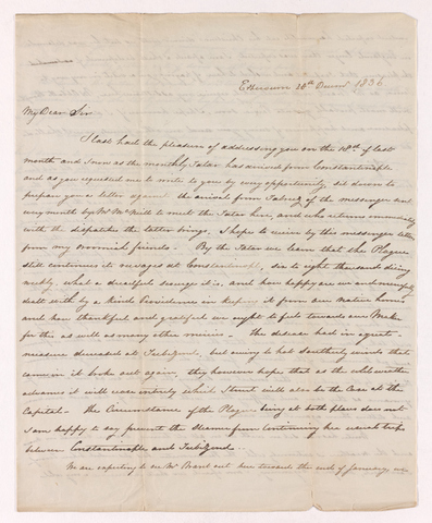 Edward Zohrab letter to Justin Perkins, 1836 December 20