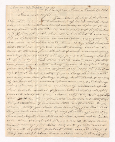 Payson Williston letter to Justin Perkins, 1846 March 27