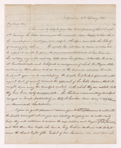 Edward Zohrab letter to Justin Perkins, 1837 February 14