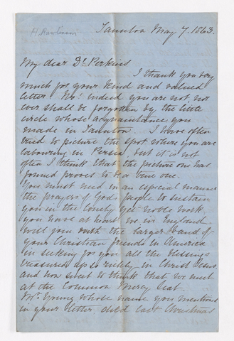Harriette Rawlinson letter to Justin Perkins, 1863 May 7