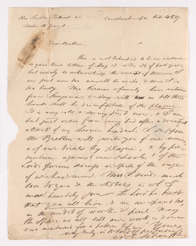 William Gottlieb Schauffler letter to Justin Perkins and Asahel Grant, 1837 February 4