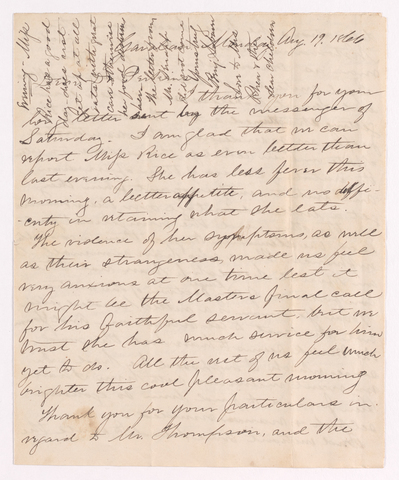 Benjamin Labaree letter to Justin Perkins, 1866 August 19