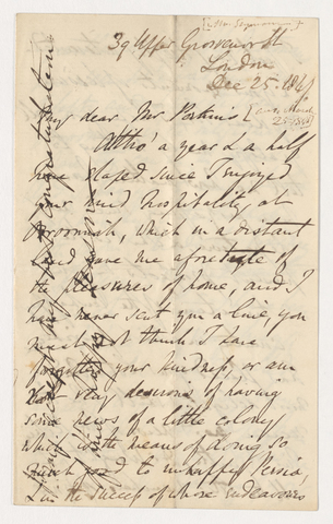 Henry Danby Seymour letter to Justin Perkins, 1841 December 25