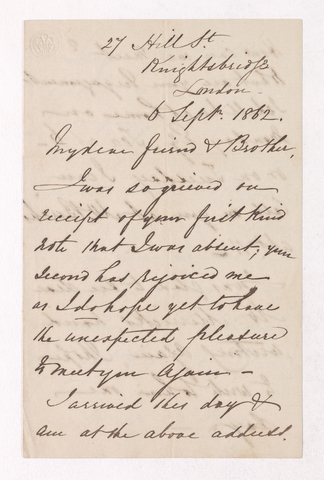 George Woodfall letter to Justin Perkins, 1862 September 6