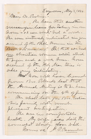 Moses Payson Parmelee letter to Justin Perkins, 1864 May 2