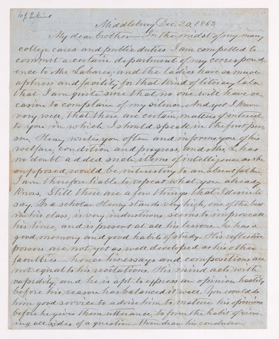 Benjamin Labaree letter to Justin Perkins, 1863 December 20