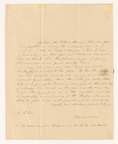 E. Torrey letter to Charlotte Bass Perkins, 1842 August 25