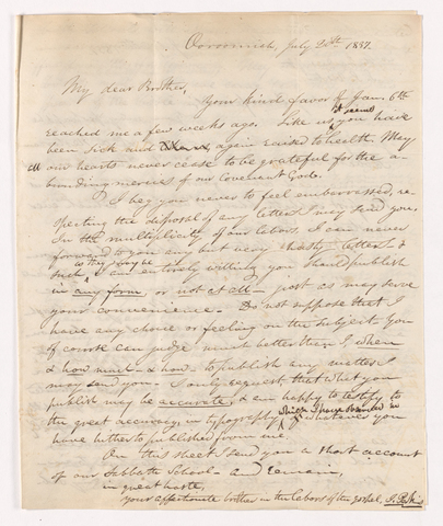 Justin Perkins letter to Asa Bullard, 1837 July 20