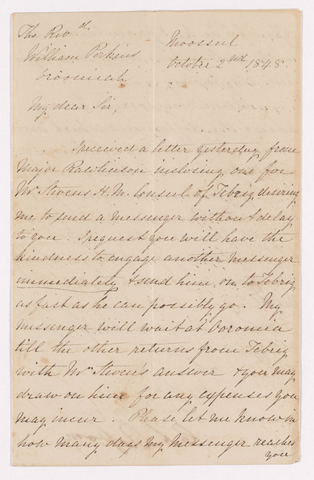 Christian Anthony Rassam letter to Justin Perkins, 1848 October 2