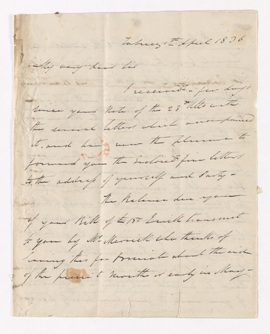 Alexander Nisbet letter to Justin Perkins, 1836 April 1