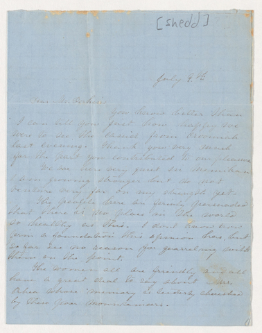 Sarah Jane Dawes Shedd letter to Justin Perkins, July 9