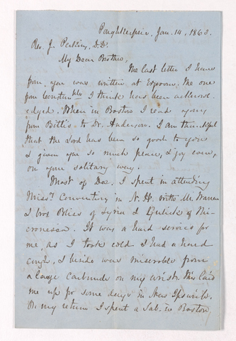 Austin Hazen Wright letter to Justin Perkins, 1863 January 14