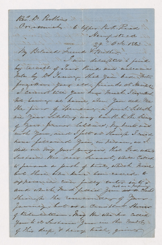 Andrew Steedman letter to Justin Perkins, 1863 October 29