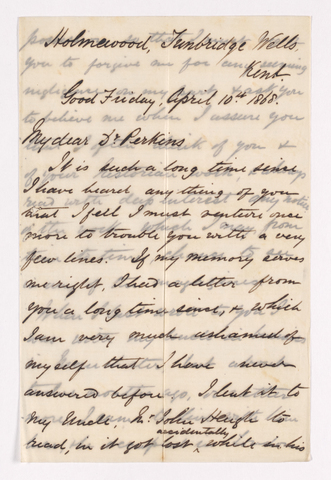 Hugh Heugh Riach letter to Justin Perkins, 1868 April 10