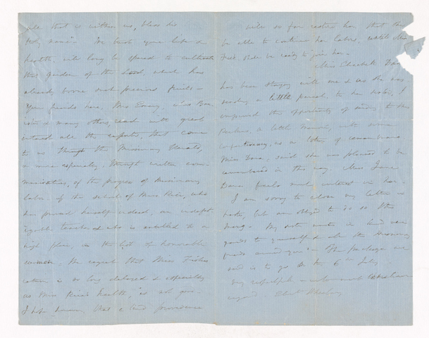 Elizabeth Wheelwright letter to Justin Perkins
