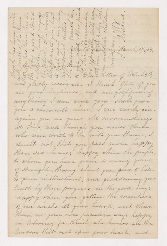 Sophia Dana Hazen Stoddard letter to Justin Perkins, 1864 March 17