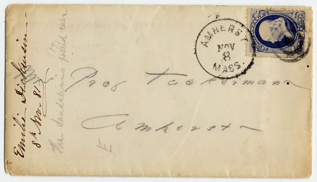 Emily Dickinson envelope addressed to Mrs. Edward (Sarah) Tuckerman