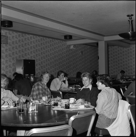Photographs of students in Valentine Hall and Orr Rink, 1974 December 18