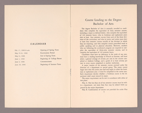 Announcement of courses for the spring term 1944