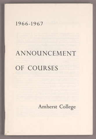 Announcement of courses 1966-1967