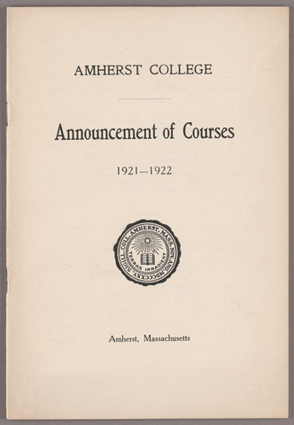 Announcement of courses 1921-1922