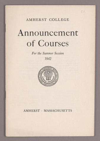 Announcement of courses for the summer session 1942