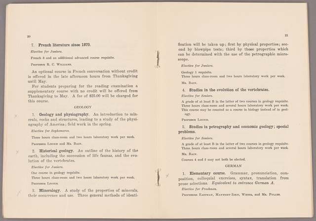 Announcement of courses 1927-1928