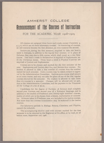 Announcement of the courses of instruction for the academic year 1908-1909