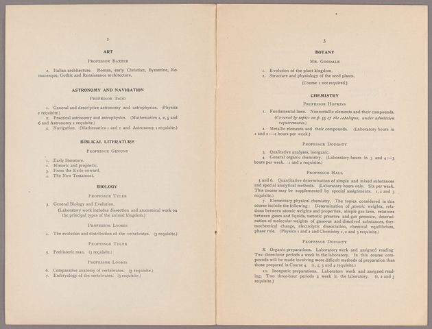 Announcement of the courses of instruction for the academic year 1909-1910