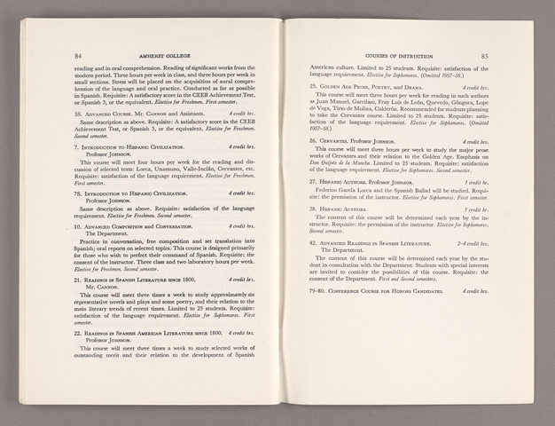 Announcement of courses 1957-1958