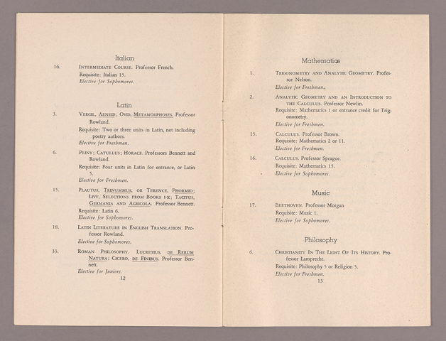 Announcement of courses for the fall term 1944-1945