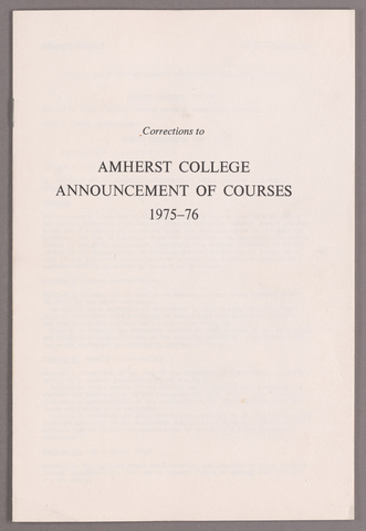 Corrections to Amherst College announcement of courses 1975-76