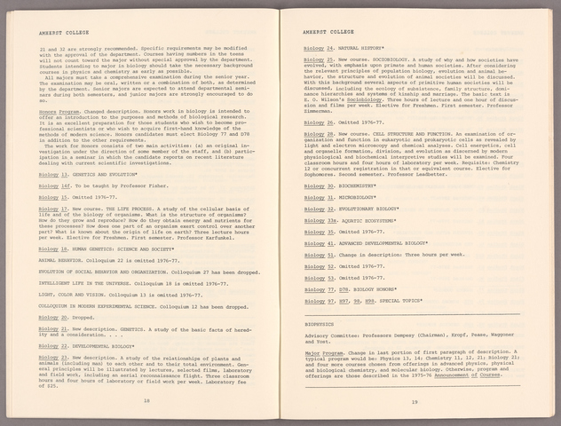 1976-77 corrections and additions to the 1975-76 Amherst College announcement of courses