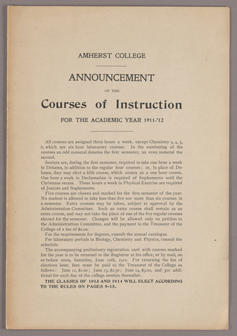 Announcement of the courses of instruction for the academic year 1911-'12