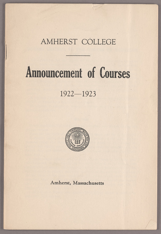 Announcement of courses 1922-1923