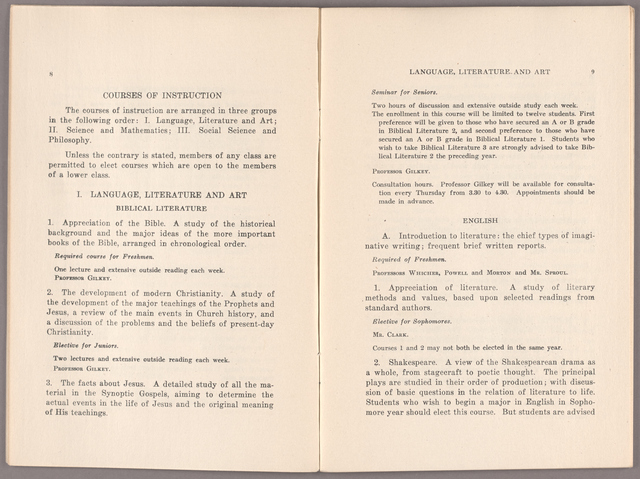 Announcement of courses 1926-1927