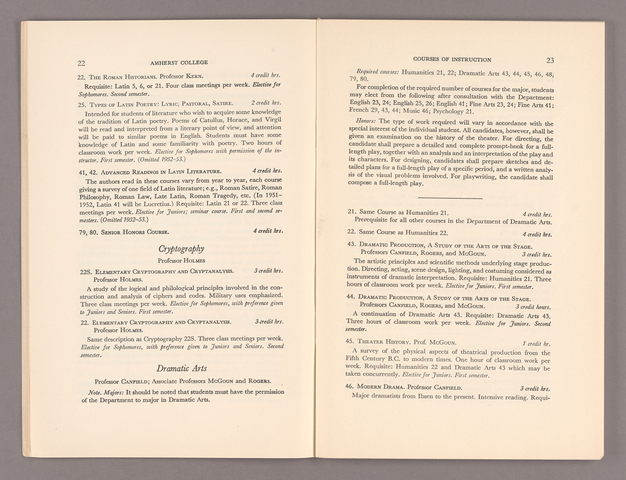 Announcement of courses 1952-1953