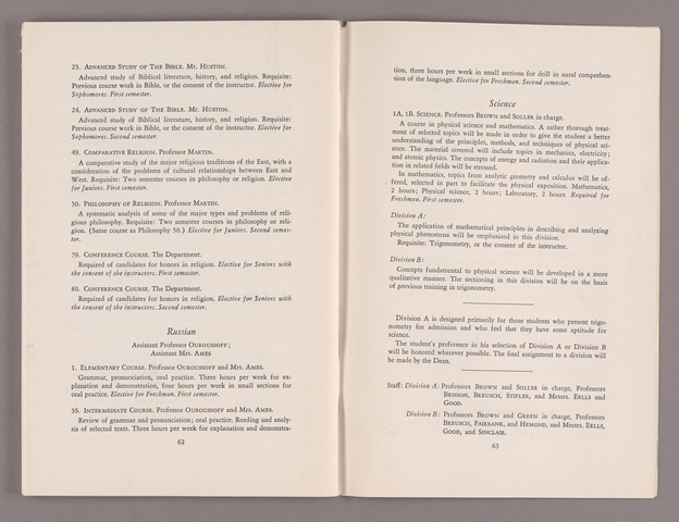 Announcement of courses 1949-1950