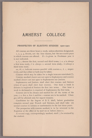 Prospectus of elective studies 1900-1901