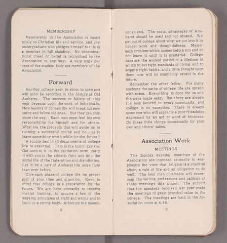 Students' handbook of Amherst College, 1908-1909