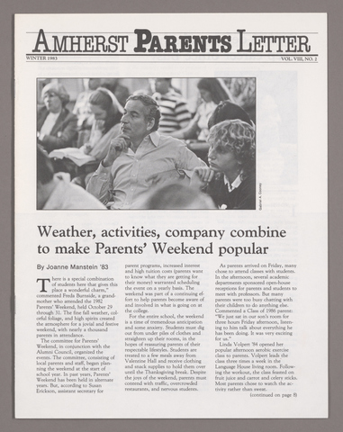 Amherst parents letter, 1983 winter
