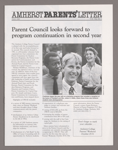 Amherst parents' letter, 1982 fall