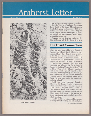 Amherst letter, 1977 winter