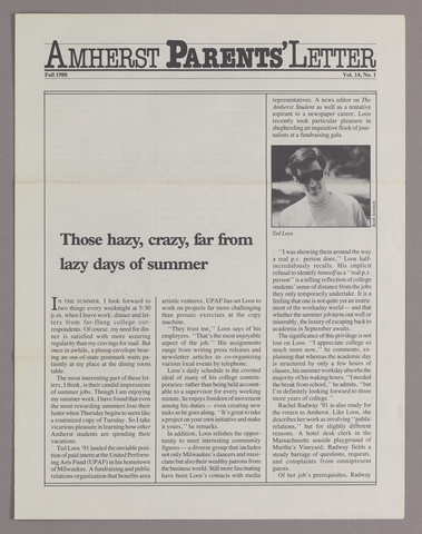 Amherst parents' letter, 1988 fall