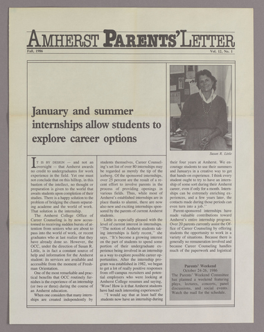 Amherst parents' letter, 1986 fall