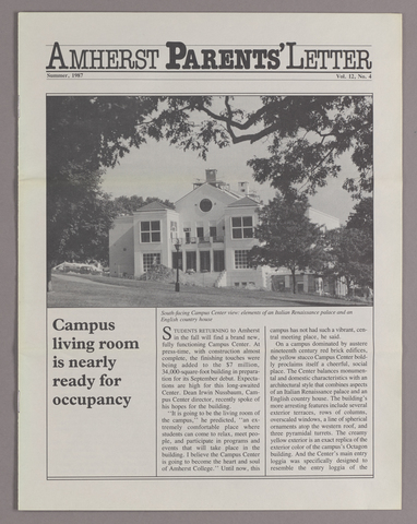 Amherst parents' letter, 1987 summer