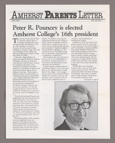 Amherst parents letter, 1983 fall